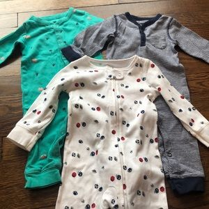 Carters set of 3 footless sleepers size 9M
